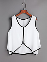 Women's Going out Simple Spring Summer T-shirt,Solid V Neck Sleeveless Others