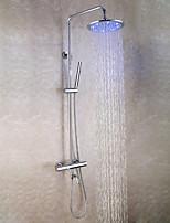 Contemporary Chrome Brass Bath Tub Shower Faucet Set / 10 Inch LED Shower Head / Hand Shower / Thermostatic Mixer Valve