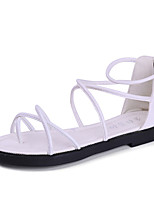 Sandals Summer Comfort PU Casual Flat Heel Braided Strap Black White Walking
