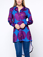 Для женщин На каждый день Весна Осень Рубашка Рубашечный воротник,Уличный стиль С принтом Фиолетовый Длинный рукав,Хлопок,Средняя