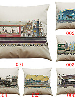 Set of 6 Hand-painted train pattern Linen  Cushion Cover Home Office Sofa Square  Pillow Case Decorative Cushion Covers