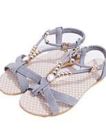 Sandals Spring Summer Fall Comfort Fabric Dress Casual Flat Heel Imitation Pearl Black Gray