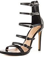 Sandals Summer Gladiator Leatherette Office & Career Party & Evening Dress Casual Stiletto Heel Buckle Zipper Black