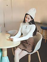 signe du printemps 2017 nouvelle version coréenne de la chemise en tricot brodé semi-sauvage mince col haut