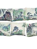 Set of 6 Chinese painting   Linen Pillowcase Sofa Home Decor Cushion Cover (18*18inch)