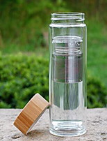 1pcs Transparent Drinkware 600 ml Filterable Heat Retaining Double Wall Glass Tea Water Water Bottle Bamboo Cover