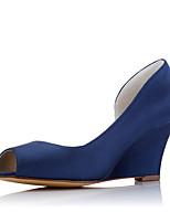 Белый Тёмно-синийСвадьба Для праздника Для вечеринки / ужина-Ткань-На танкетке-Удобная обувь-Обувь на каблуках