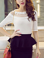 Women's Casual/Daily Simple Spring Summer T-shirt,Solid Round Neck ½ Length Sleeve White Black Polyester Medium