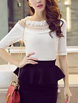 Damen Solide Einfach Lässig/Alltäglich T-shirt,Rundhalsausschnitt Frühling Sommer ½ Länge Ärmel Polyester Mittel