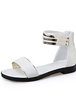 Women's Sandals Summer Club Shoes Leatherette Outdoor Dress Casual Chunky Heel Zipper Black White Black/Yellow Walking