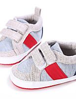 Baby Flats Spring Fall First Walkers Leatherette Outdoor Casual Low Heel Magic Tape Gray Dark Grey Light Blue Walking