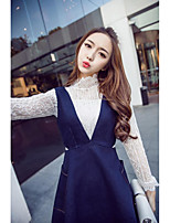 2017 spring new long-sleeved lace shirt + denim skirt two-piece vest