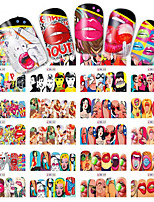 1pcs 12 Design Fashion Pop Art Style Design Nail Art Sticker Sexy Cartoon Interesting Design Full Cover Water Transfer Decals BN349-360