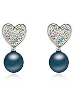 Stud Earrings Pearl Pearl Alloy Natural Heart White Black Dark Blue Gray Copper Jewelry Daily 1 pair