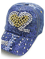 Women 's Spring Summer Peach Heart Diamond Sequins Denim Leisure Cowboy Baseball Cap