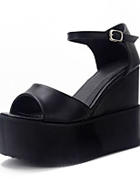 Women's Heels Summer PU Dress Wedge Heel Buckle Black