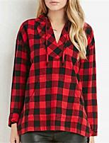 Для женщин На выход На каждый день Весна Рубашка Капюшон,Уличный стиль Гусиная лапка Красный Длинный рукав,Полиэстер,Средняя