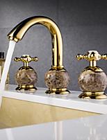 Antik 3-Loch-Armatur Breite spary with  Keramisches Ventil Zwei Griffe Drei Löcher for  Ti-PVD , Waschbecken Wasserhahn