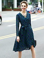 Women's Going out Sophisticated A Line Dress,Embroidered V Neck Knee-length Long Sleeve Polyester Spring Summer Mid Rise Micro-elastic