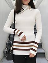 знак корейской моды дикий отворот хит цвет молния тонкий полосатый свитер с высоким воротником рубашки дна