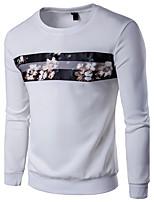 Tee-shirt Homme,Imprimé Couleur Pleine Décontracté / Quotidien Grandes Tailles simple Actif Eté Manches Longues Col ArrondiCoton Lin
