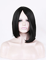 Women Synthetic Wig Capless Short Straight Black Middle Part Bob Haircut Natural Wig Costume Wigs