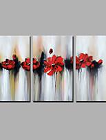 Ручная роспись Абстракция Цветочные мотивы/ботанический Вертикальная,Modern 3 панели Холст Hang-роспись маслом For Украшение дома