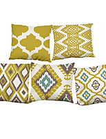 Set of 5 Creative geometric pattern  Linen Pillowcase Sofa Home Decor Cushion Cover (18*18inch)