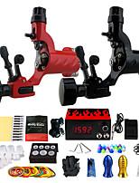 Complete Tattoo Kit  2 Pro Rotary Tattoo Machine Set Power Supply Needles TK249
