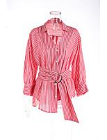 Для женщин На каждый день Офис Весна Лето Рубашка Рубашечный воротник,Простое Полоски Длинный рукав,Хлопок