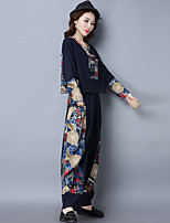 Sign 2017 spring new national wind stitching cotton shirt loose big yards wide leg pants suit women
