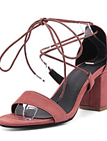 Women's Sandals Spring Summer D'Orsay & Two-Piece Gladiator Leatherette Outdoor Dress Chunky Heel Block Heel Lace-up Hollow-outBlack