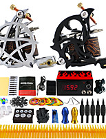 Complete Tattoo Kit 2 Pro Machine Power Supply Foot Pedal Needles Tips TK230