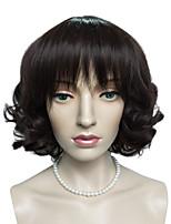 Dark Auburn Short Bob Wig Synthetic Fiber Wig Hairstyle Natural Wavy Costume Wigs Cosplay Wigs