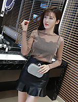 Sign new fashion ladies leather skirt Slim perspective Top + skirts piece sent wrapped chest
