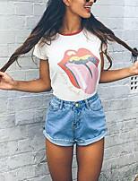 Feminino Camiseta Para Noite Casual Simples Moda de Rua Verão,Estampado Poliéster Decote Redondo Manga Curta Média