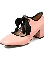 Saltos-Sapatos clube-Salto Grosso-Rosa Amêndoa-Couro Envernizado-Escritório & Trabalho Social Casual