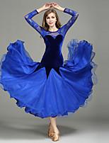 Ballroom Dance Dresses Women Performance Lace Tulle Velvet Lace Splicing 1 Piece Long Sleeve Natural Dress