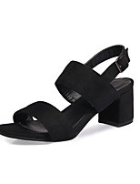 Women's Sandals Spring Summer Leatherette Dress Chunky Heel Black Green