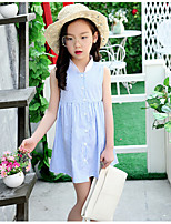 Girl's Beach Striped Dress,Cotton Polyester Summer Sleeveless