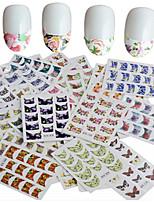 1set 44pcs Beautiful Flower Butterfly Design DIY Half Nail Tips Nail Art Sticker Nail Art Water Transfer Decals Nail Art Beauty B Series