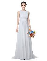 LAN TING BRIDE Longo Decorado com Bijuteria Vestido de Madrinha - Elegante Sem Mangas Chiffon