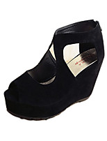 Sandals Spring Summer Fall Comfort Fabric Dress Casual Flat Heel Wedge Heel Black Blue