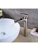 Contemporary Centerset Waterfall with  Ceramic Valve Single Handle One Hole for  Nickel Brushed , Bathroom Sink Faucet