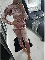 Europe AliExpress Ebay Amazon burst models of high-quality masonry lotus leaf collar velvet track suit women