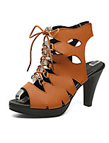 Sandals Spring Summer Fall Club Shoes Leatherette Casual Cone Heel Lace-up Black White Dark Brown