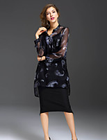 Women's Going out Party Sexy Spring Summer Shirt,Floral V Neck Long Sleeve Silk Translucent