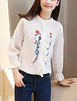 Women's Going out Simple Spring Summer Shirt,Embroidered Stand Long Sleeve White Cotton Polyester Medium