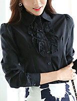 Women's Casual/Daily Work OL Style Slim Chiffion All Match Simple Street chic Spring Fall ShirtSolid Shirt Collar Long Sleeve White Black Medium