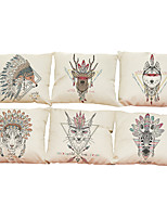 Set of 6  Nordic style pattern Linen Pillowcase Sofa Home Decor Cushion Cover (18*18inch)